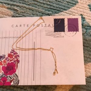 ANTHROPOLOGIE POSTCARD gold necklace, NWT